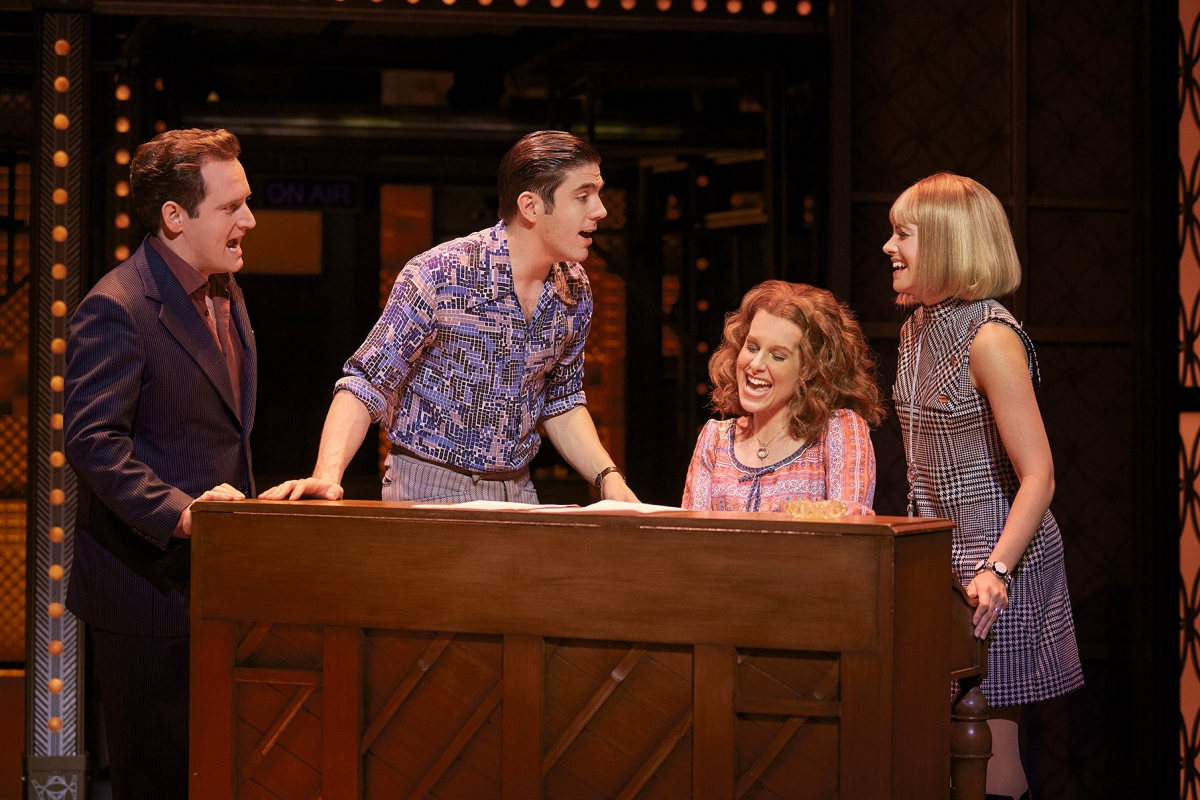 2. L-R Gary Trainor (Don Kirshner), Ian McIntosh (Barry Mann), Cassidy Janson (Carole King), Lorna Want (Cynthia Weil)  Photo Credit Brinkhoff Moegenburg.