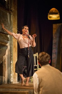 Britten in Brooklyn 4 Sadie Frost (Gypsy Rose Lee) and   Ryan Sampson (Benjamin Britten) Photo Marc Brenner