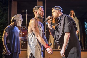 Declan Bennett and David Thaxton as Jesus and Pilate. Photo Johan Persson.