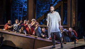 Declan Bennett as Jesus and the Apostles. Photo Johan Persson.