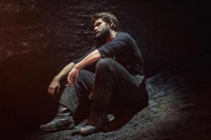 Christian Cooke (Pony William) in Knives in Hens at the Donmar Warehouse, directed by Yaël Farber. Photo by Marc Brenner