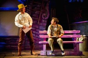 Rhydian Roberts as Patrick (cameo) and Sam Lupton as Seymour in Little Shop of Horrors. Photo Credit Matt Martin