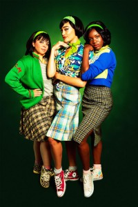Sasha Latoya as Crystal, Cassie Clare as Ronnette and Vanessa Fisher as Chiffon in Little Shop of Horrors. Photo Credit Matt Martin