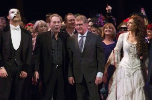 The Phantom of the Opera 30th Anniversary.  Ben Forster, Andrew Lloyd Webber, Michael Crawford and Celinde Schoenmaker.  Photo by Dan Wooller
