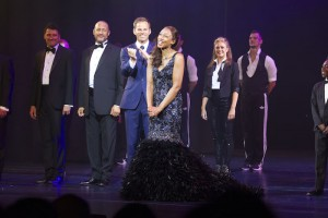 Ben Richards (Frank Farmer) and Beverley Knight (Rachel Marron) during the curtain call of The Bodyguard. Photo credit Dan Wooller