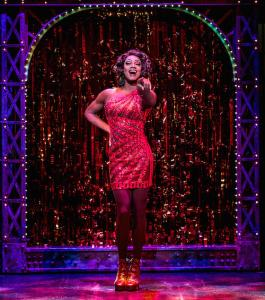 Simon-Anthony Rhoden as Lola in Kinky Boots at the Adelphi Theatre, photo by Darren Bell (1)