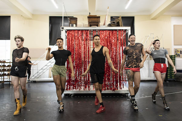 Connor Collins (Angel), Chileshe Mondelle (Angel), Callum Francis (Lola), John Dempsey (Angel) and Damon Gould (Angel) in rehearsal for Kinky Boots UK Tour - Photo Credit Helen Maybanks