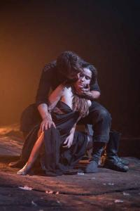 Christian Cooke (Pony William) and Judith Roddy (Young Woman) in Knives in Hens at the Donmar Warehouse, directed by Yaël Farber. Photo by Marc Brenner
