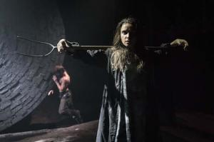 Christian Cooke (Pony William) and Judith Roddy (Young Woman) in Knives in Hens at the Donmar Warehouse, directed by Yaël Farber. Photo by Marc Brenner (2)