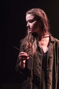 Judith Roddy (Young Woman) in Knives in Hens at the Donmar Warehouse, directed by Yaël Farber. Photo by Marc Brenner