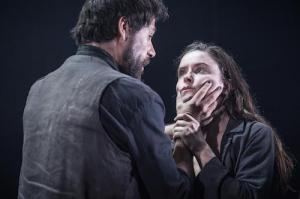 Matt Ryan (Gilbert) and Judith Roddy (Young Woman) in Knives in Hens at the Donmar Warehouse, directed by Yaël Farber. Photo by Marc Brenner