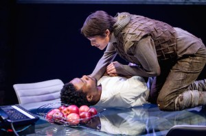 Fisayo Akinade (The Dauphin) and Gemma Arterton (Joan) in the Donmar Warehouse's production of Saint Joan. Dir Josie Rourke. Photo Jack Sain