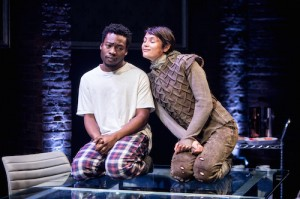 Fisayo Akinade (The Dauphin) and Gemma Arterton (Joan) in the Donmar Warehouse's production of Saint Joan. Dir Josie Rourke. Photo Jack Sain (2)