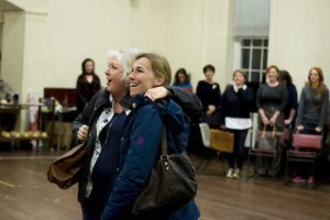 LtoR Claire Moore and Joanna Riding in rehearsals for The Girls, credit Matt Crockett